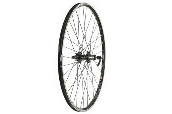 700c Hybrid Rear Wheel - Black V-Rim Disc 8/9 Cassette